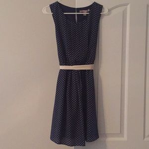 Navy Polka Dot Swing Dress